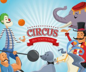 Circus animal and clown show poster vector
