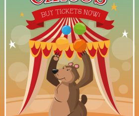 Circus brown bear performance vector