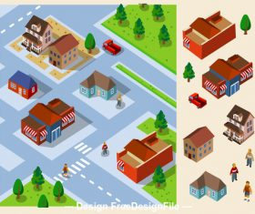 City community cartoon vector