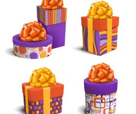Color box with ribbon vector