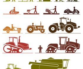 Color farmer and tractor silhouette vector