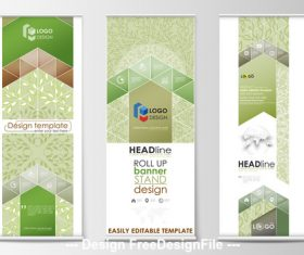 Color roll-up banner design vector