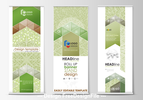 Color roll up banner design vector
