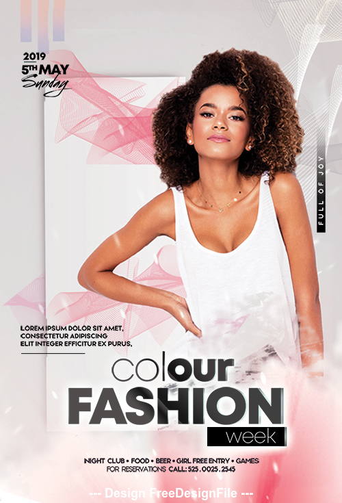 Colour Fashion Week Flyer Design PSD Template