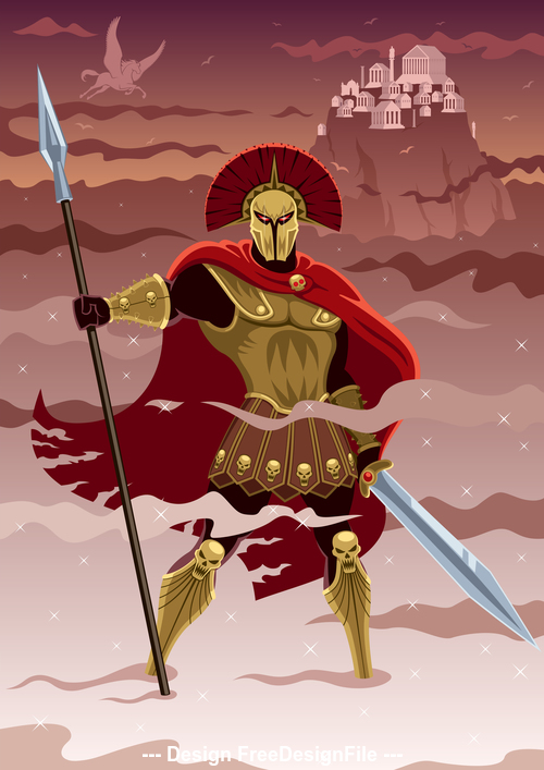 Comic gold warrior vector