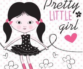 Comic pretty little girl vector