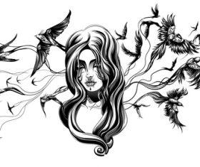 Comic silhouette vector