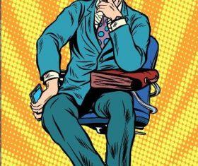 Contemplative man comic vector