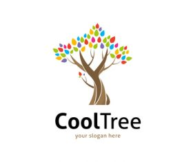 Cool tree logo vector