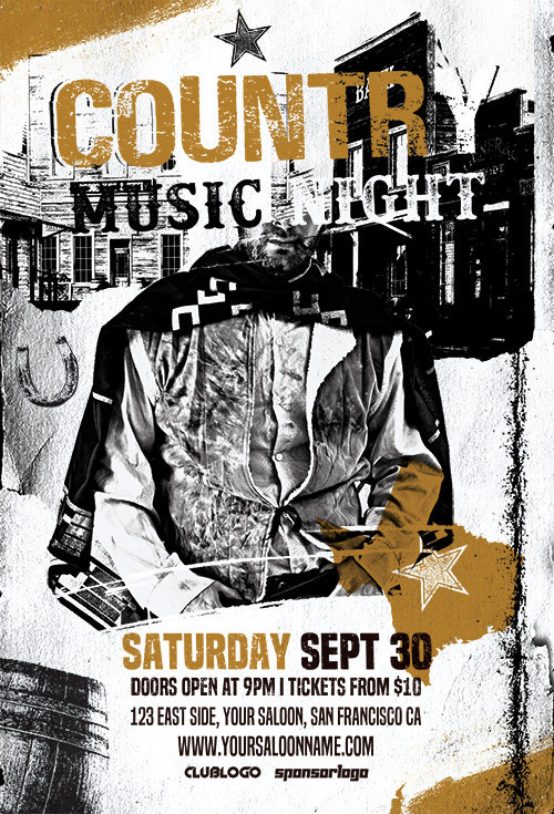 Country Music Night Flyer PSD Template