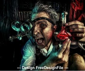 Crazy medieval scientist working Alchemist Halloween Stock Photo 01