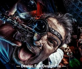 Crazy medieval scientist working Alchemist Halloween Stock Photo 03