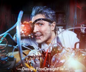 Crazy medieval scientist working Alchemist Halloween Stock Photo 05