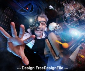 Crazy medieval scientist working Alchemist Halloween Stock Photo 06
