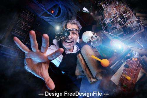 Crazy medieval scientist working Alchemist Halloween Stock Photo 06