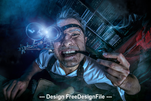 Crazy medieval scientist working Alchemist Halloween Stock Photo 07