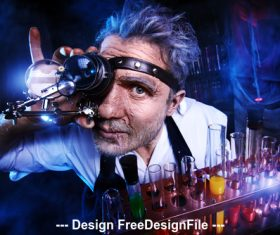 Crazy medieval scientist working Alchemist Halloween Stock Photo 08