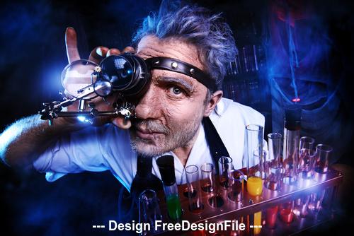 Crazy medieval scientist working Alchemist Halloween Stock Photo 08