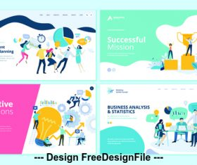 Creative solutions flat banner concept illustration vector