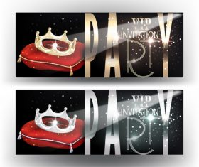 Crown level VIP invitation cards vector