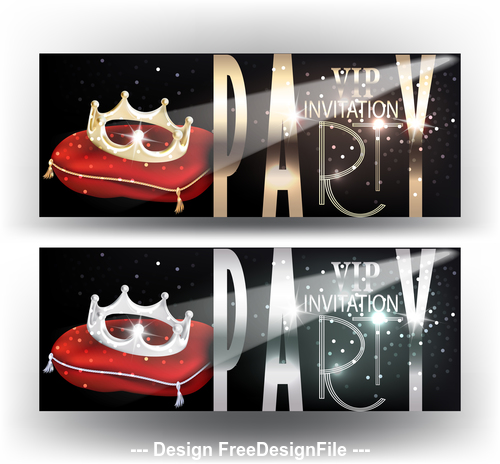 Crown level VIP invitation cards vector