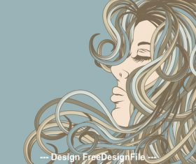Curly hairstyle girl silhouette vector