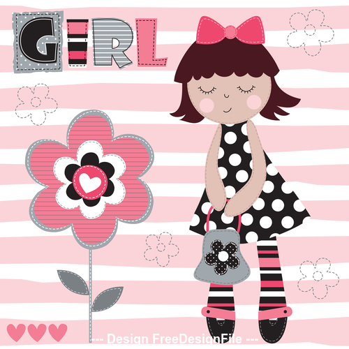Cute girl and flower vector