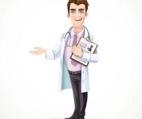 Cute male doctor in a shirt and tie and medical coat vector