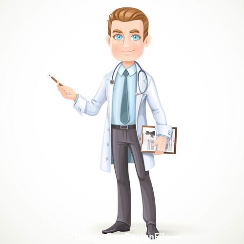 Cute male doctor in a white coat vector