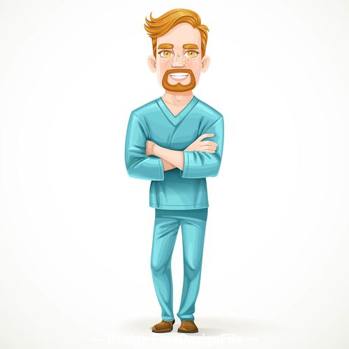 Cute male doctor in green surgical suit vector