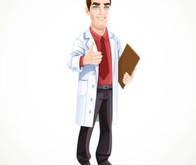 Cute male doctor in medical coat shows gesture thumbs up isolated on white background vector