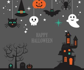 Decorative illustration happy halloween vector