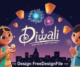 Diwali beautiful night vector