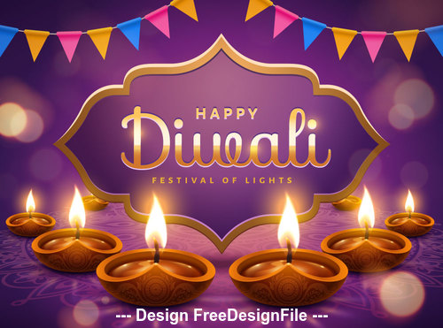 Diwali festival bunting decoration vector