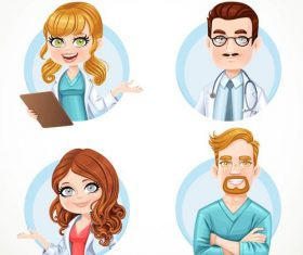 Doctor and nurse cartoon portrait vector