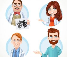 Doctor in white coat cartoon icon vector