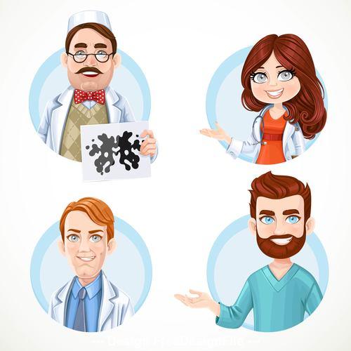 Doctor in white coat cartoon icon vector