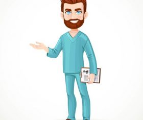 Doctor with beard cartoon vector
