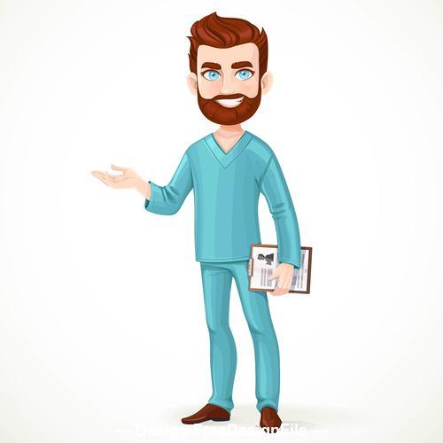 Doctor with beard cartoon vector