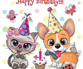 Dog animal birthday card vector