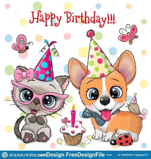 Dog animal birthday card vector