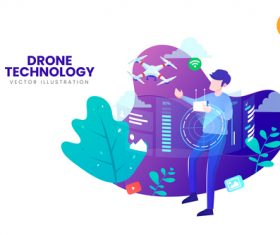 Drone technology vector illustration