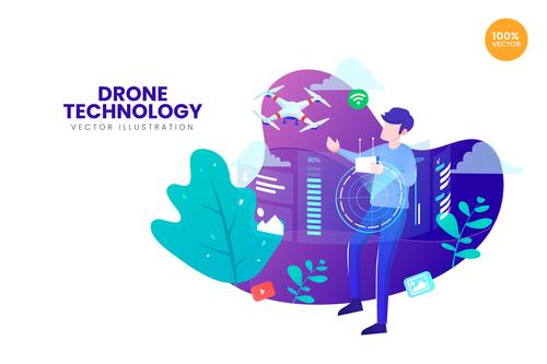 Drone technology vector illustration