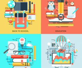 Education concept flat banner vector