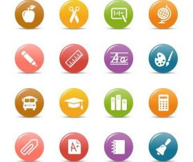 Education glossy buttons Icon vector