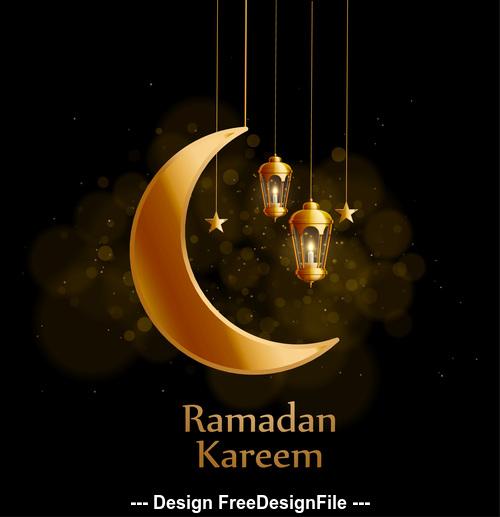 Eid mubarak ramadan kareem background decoration vector