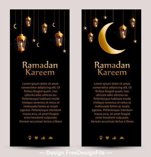 Eid mubarak ramadan kareem banner vector