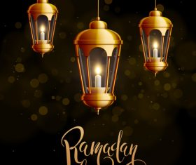 Eid mubarak ramadan kareem bright lights vector