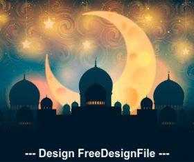 Eid mubarak ramadan kareem silhouette vector