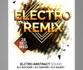 Electro remix party flyer vector